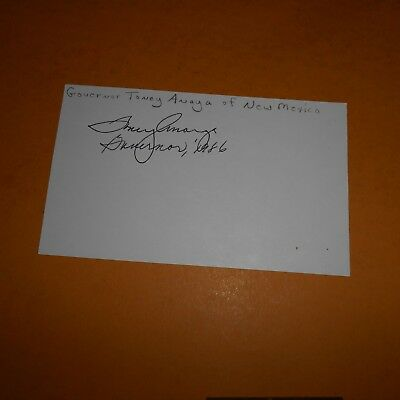 Toney Anaya 26th Governor of New Mexico Hand Signed Index Card