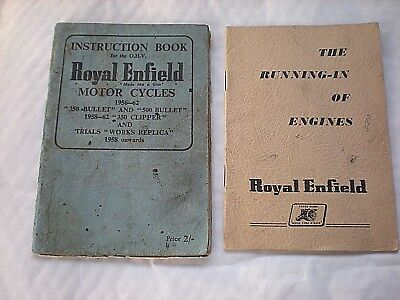 2 Vintage Books On ROYAL ENFIELD Motor Cycles - An Instruction Book & Running In