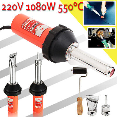 1080W Plastic Hot Air Welding Gun Welder Torch + 2x Nozzles + Roller + Adapter