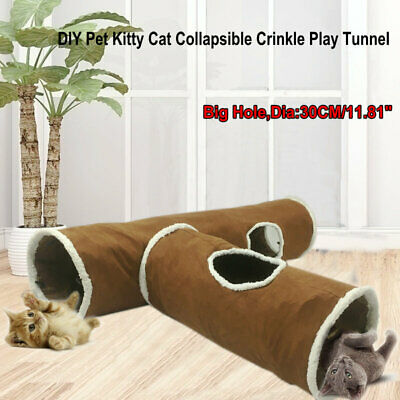 Suede Cat Tunnel Large Holes Pet Cat Play Tunnels Rabbit Toys With Ball Brown