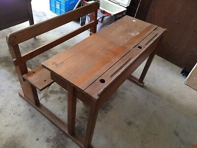 Vintage solid timber double school desk