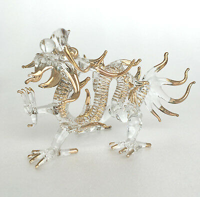 Golden Painted Dragon Glass Figurines Collectible Gift Home Show