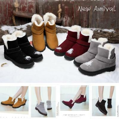 AU New Women Winter Fur Lined Boots Flat Lace Up Warm Snow Ankle Boots Shoes JA