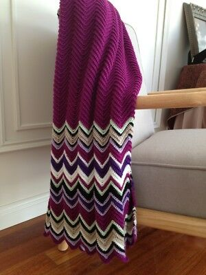 Colorful handmade knitted/Chrochet blanket/throw