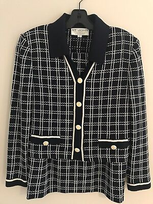 St. John Collection by Marie Gray Navy Bleu Skirt Suit Size 2