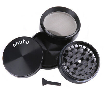 4 Piece Magnetic 2.4 Inch Black Tobacco Herb Grinder Spice Metal With Scoop