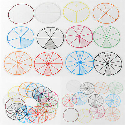 12pc Math Fraction Circles for Children Kids Student School Educational Toy MW