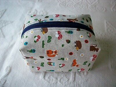Dummy Soother Pacifier Case Holder Handmade Woodland Fox Waterproof Lining