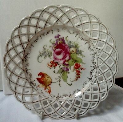 Antique C1880, Four Pierced Ribbon Plates, Hand Made Possibly German Vgc