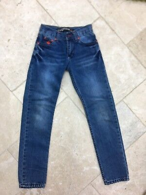 Dsquared Boys Girls Unisex Blue Jeans Red Logo Slim Straight Age 11 Pockets Zip