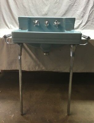 Vtg Mid Century Ceramic Blue Bath Sink Chrome Legs Towel Bars Standard 225-18E