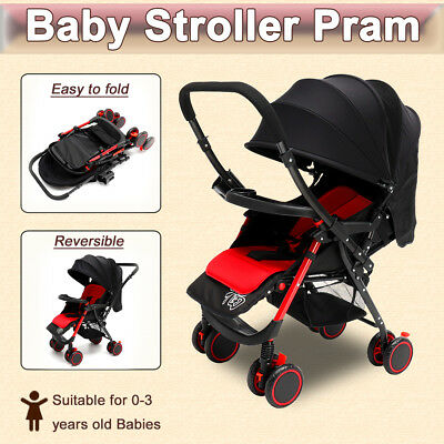 Cool Black Foldable Baby Stroller Pram Reversible Lightweight Jogger Carry-on AU