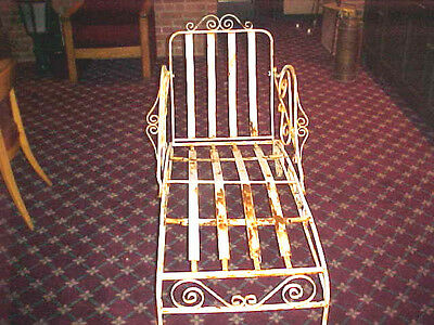"""1920's Chaise Wrought Iron  Lounge Outdoors 60"""" Long 30"""" Wide & 36"""" High"""
