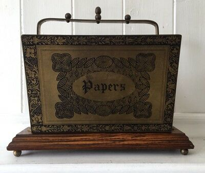 Antique Oak And Brass Paper/ Letter Rack