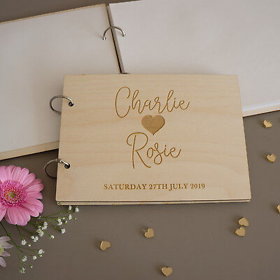 Custom made wedding guest book. Personalised ring bound engraved wood book L300