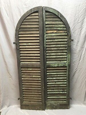 """Antique Pair Arched Dome Top Wood Louvered Shutters 62""""x16"""" Old Vtg 228-18E"""