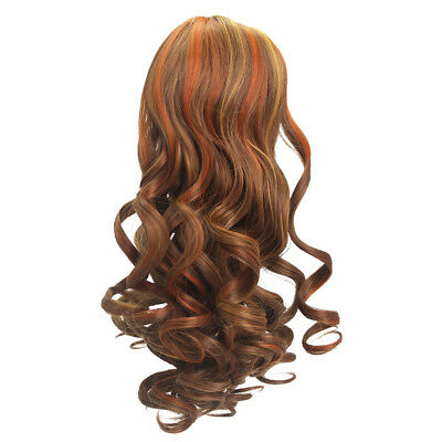 Brown Curly Hair Heat Resistant Wig for 18'' American Girl Doll Custom Use