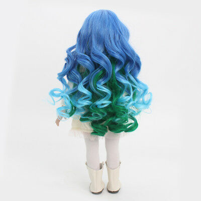 32cm Simulation Scalp Curly Hair Wig for 18'' American Girl Doll Blue Green