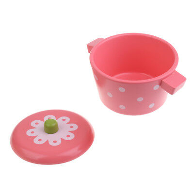 Kids Kitchen Toy Pink Wooden Stewpot Pretend Play Cooking Toy for Boys Girls
