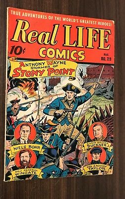 REAL LIFE COMICS #29 -- March 1946 -- Nedor -- SCHOMBURG Cover -- VG+ / F-