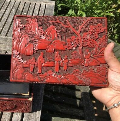 Superb Large Chinese Qing Dynasty 19Th Century Cinnabar Lacquer Box Scholars