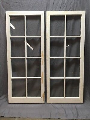 Pair Antique 8 Lite Casement Bookcase Cabinet Door Windows Vtg Old 62x34 229-18E