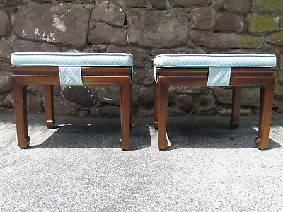 PAIR of Vintage 1980s HENREDON Asian Bench Footstool Ottomans w/ Cushions