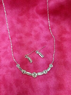 Simple Baguette Rhinestone Necklace & Earring Set for Brides. Bridesmaids & Prom