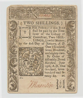 6 19, 1776 Cut Cancelled Signed by Jabez Hamlin Two Shilling CT Colonial Note