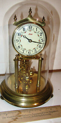 Vintage Small 9 Inch Kundo Anniversary Clock With Glass Dome