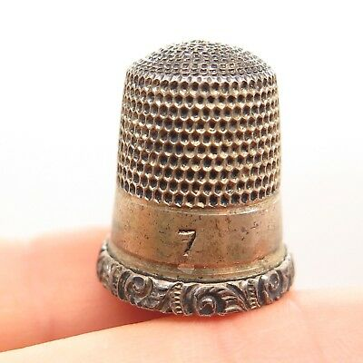 Antique Victorian Simons Brothers Sterling Silver Handcrafted Artisan Thimble 7