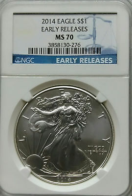 NGC MS70 2014 American SILVER EAGLE $1 Dollar Coin 1oz 999 Ag Early Releases USA