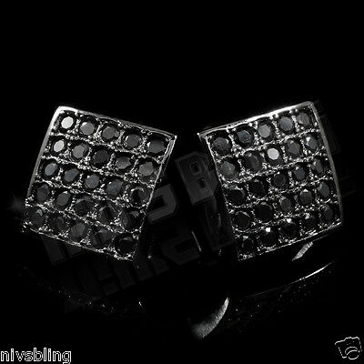 18k Black Gold Out ICED Onyx Micropave Square Kite Stud HipHop AAA CZ Earring 2B