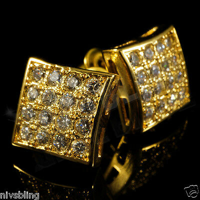 18k Gold Bling Out Iced Micropave Men Square Kite Stud Hip Hop AAA CZ Earring 1G