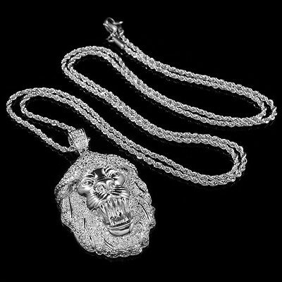 18K White Gold Out Iced CZ Pave Lion Stainless Steel Rope Chain Pendant Necklace