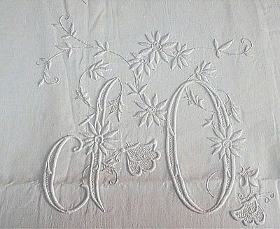 French antique hd embroidered large linen sheet mono JO butterfly flower scallop