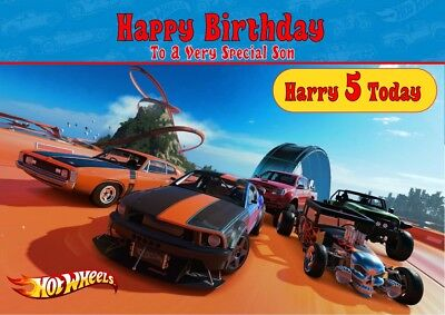 personalised birthday card Hot Wheels car any name/age/relation