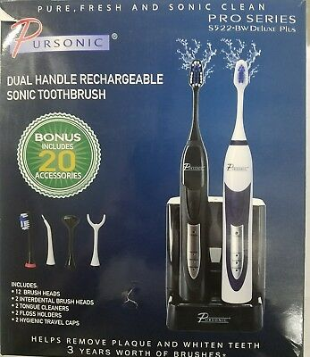 Pursonic S522 Dual Handle Ultra High Powered Sonic Electric Toothbrush with Dock