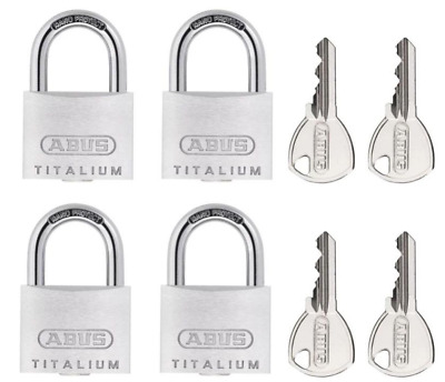 Abus Titalium Padlock Set 64T40 - 4 Padlocks With The Same Key - New