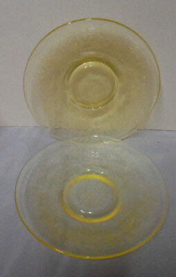 "Florentine By Hazel Atlas, 2 Yellow Saucers Or Plates, 5.5"" Across Vintage"