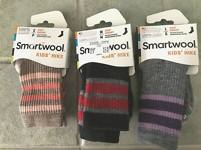 NEW Smartwool Kids Striped Hike Medium Crew Socks S M L Merino Wool MSRP $12.95