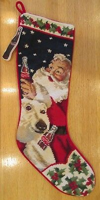 VINTAGE 1997 COCA-COLA STITCH CHRISTMAS STOCKING SANTA w POLAR BEAR NOS w TAG