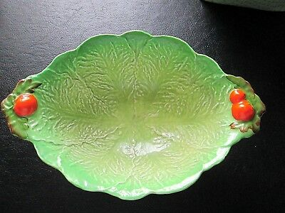Vtg Carlton Ware Oval Serving Bowl w Handles Lettuce/Cabbage w Tomatoes