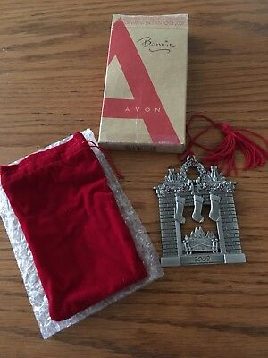 Avon 2009 Pewter Ornament - Fireplace w/ red stones (box & bag)