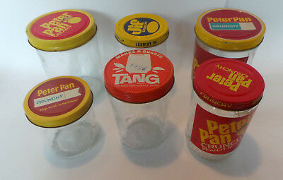 5 Vtg Advertising Glass Jars with Tin Lids Peter Pan, Tang ~ 2 w/ Partial Labels