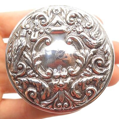 Antique Victorian Sterling Silver Ornate Birds Pot / Jar Lid