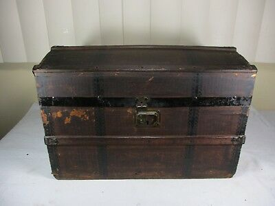 """Antique Humpback Steamer Trunk Chest, Beautifully Wooden Banded  10 1/2"""" Tall"""