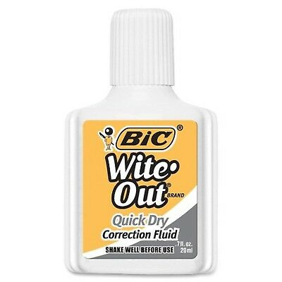 BIC Wite-Out Brand Quick Dry Correction Fluid, 20 ml, White, 1-Count 1-Pack