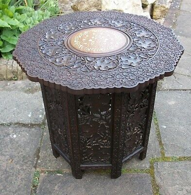 Large Antique Octagonal Anglo/indian  Folding  Wooden Side Table Inlaid Top
