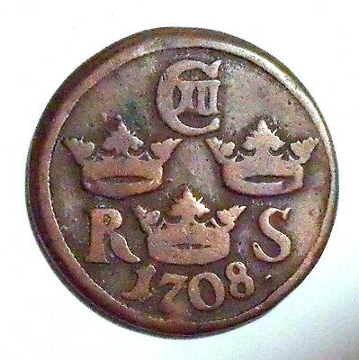 SWEDEN - Carl XII (1697-1718) 1/6 Ore 1708 - SCARCE - NO RESERVE